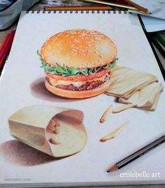 Drawing Realistic - Drawings is an amazing form of art, where the pencil drawings seem to literally jump off the page. Most artists use graphite pencils for creating the look. Easy drawings are usually small Easy 3d Drawing, 3d Drawing Tutorial, Pencil Drawing Tutorials, Food Drawing, Drawing Skills, Drawing Techniques, Painting & Drawing, Drawing Tips, Drawing Ideas