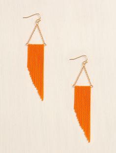 Mini Chain Fringe Earrings in Orange from LoveCulture $6