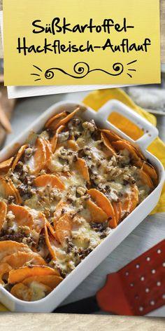 Die Süßkartoffel liegt im Trend - kein Wunder, schließlich lässt sie sich unglaublich vielseitig einsetzen und verleiht den Gerichten das gewisse Etwas. Auch in unserem Süßkartoffel-Hackfleisch-Auflauf macht die Knolle eine gute Figur! Maggi Fix, Chicken Wings, Dishes, Meat, Drinks, Food, Sweet Potato Recipes, Cooking Recipes, Delicious Food