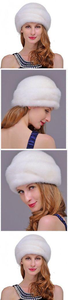 URSFUR Women's Mink Fur Romona Roller Hat with Mink Top (White)