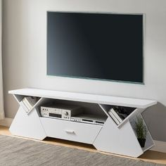 Orren Ellis Hedon TV Stand for TVs up to 78 inches Colour: White Tv Cabinet Design, Tv Wall Design, House Design, Furniture Deals, Luxury Furniture, Furniture Design, Media Furniture, Tv Stand Furniture, Living Room Furniture