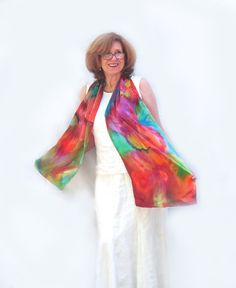 Silk Satin Scarf, Hand-Painted, Jewel Colors, Long, Impressionist Flowers