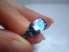 Rainbow Moonstone Sterling Silver Ring by PassionateJewelry