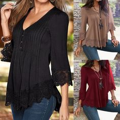 Sexy Casual V Neck Lace Crochet 3/4 Sleeve Slim Blouse for Women
