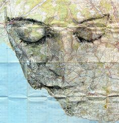 Amazing map portraits by Ed Fairburn which make my heart beat faster and my mind light up. - Amazing map portraits by Ed Fairburn which make my. Ed Fairburn, Art Carte, Colossal Art, Photocollage, A Level Art, Vintage Maps, Art Plastique, Oeuvre D'art, Mixed Media Art