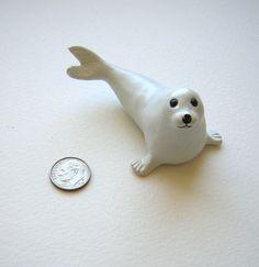 Vintage Harp Seal Pup  miniature sandplay white by RememberThat1