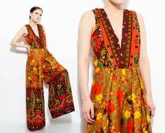 8a831e0bf444 70s Hawaiian Jumpsuit Floral + Paisley Print Barkcloth Romper Deep V Neck Wide  Leg Palazzo Pant