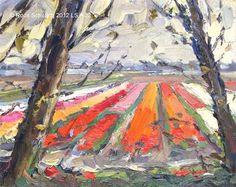 """Landscape spring No. 22 Bulbfields - Lappendeken and trees"" - Original Fine Art for Sale - © Roos Schuring"