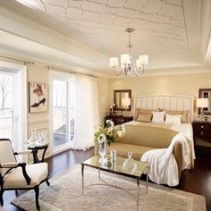 Traditional Bedroom Photos Master Bedroom Design Ideas, Pictures, Remodel, and Decor - page 13 love the seating area arrangement Country Master Bedroom, Master Bedroom Design, Home Bedroom, Bedroom Decor, Bedroom Ceiling, Bedroom Designs, Bedroom Ideas, Bedroom Furniture, Master Suite