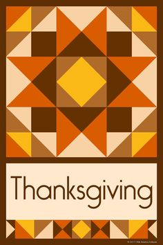 THANKSGIVING QUILT BLOCK - This quilt block is an original design by Susan Davis. Susan is the owner of Olde America Antiques and American Quilt Blocks. Visit her web sites to see more than 6,000 quilt blocks for sale.