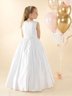 LWCD41 Communion Dress Holy Communion Dresses, First Holy Communion, Lace Button, Satin Gown, Little White, Bodice, Tulle, Flower Girl Dresses, Gowns