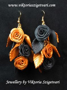 Look What Ive Made - Projects - Jewellery Making - Golden Black Earring with Roses and Leaves