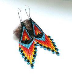 Long Black Seed Bead Earrings Native American Style  от Galiga