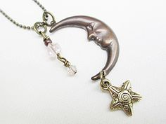 Moon Star Pendant Necklace Beaded Jewelry Long by LittleBitsOFaith, $27.00