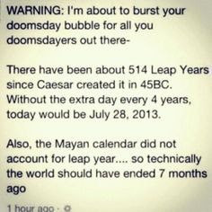 Warning: I'm about to burst your doomsday bubble...