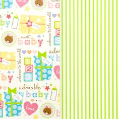 Baby Icons with Stripe Duo Wrapping Paper Price $10.95