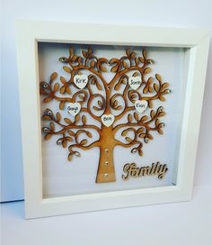 Family Tree Picture Frames, White Box Frame, Personalised Family Tree, Family Names, Frame Crafts, Box Frames, Presents, Facebook, Gemstones