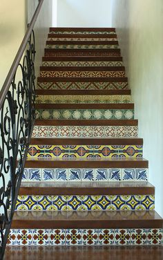 Mexican tiled stairway - very pretty!  This would be great outdoors as well!