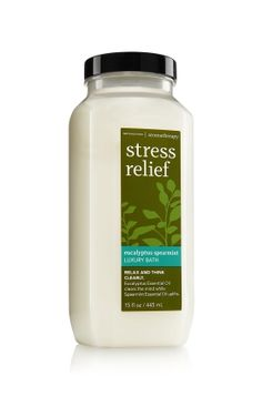Bath and Body Works Stress Relief Luxury Bath - Eucalyptus Spearmint.  A small amount makes tons of bubbles, smells amazing and is very moisturizing.  Really helps me relax after a long hard day with difficult people.