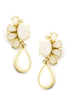 Glitter Gemstone Ivory Earrings  $22.00