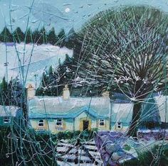 Scottish artist Deborah Phillips Abstract Landscape, Landscape Paintings, Nature Paintings, Illustrations, Illustration Art, Forest Sunset, Homemade Art, Tree Artwork, Naive Art