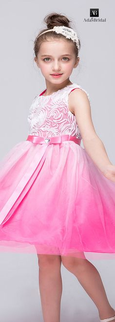 In stock attractive tulle jewel neckline ball gown flower girl dresses with spiral flowers(WFG23139)