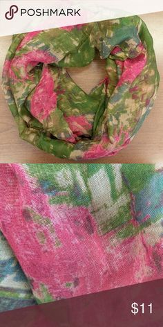 Infinity scarf Brand new, unworn lightweight Infinity scarf in gorgeous shades of pink, green and blue! Perfect for Spring! Accessories Scarves & Wraps