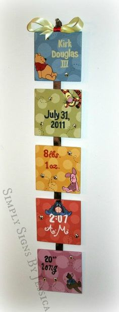 Winnie the Pooh Style Birth Announcement for baby's nursery. $40.00, via Etsy.