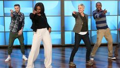 """Michelle Obama and Ellen DeGeneres had themselves an """"Uptown Funk"""" dance party on Ellen's show. The first lady was so enthusiastic, her microphone fell off, and the group had to start the dance over."""