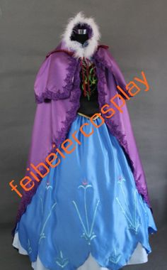 Disney Princess 2013 New Disney Movies Frozen Snow Queen Anna Cosplay Costume Classic Halloween Dress Custom Any Size