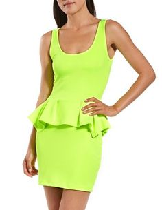 Scuba-Knit Peplum Tank Dress: Charlotte Russe