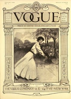 Tennis serves up oodles of style on the August, 1907 cover of Vogue magazine, Edwardian  Illustrated by C. F. Freeman, Vogue, 1907