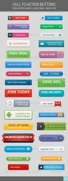 Buy Call To Action Button Set by egirldesign on GraphicRiver. Call To Action Button Set A set of 32 various call to action web buttons. Marketing Mail, Content Marketing, Digital Marketing, Action Web, Lead Page, Ui Patterns, Web Design Tips, Design Ideas, E Commerce Business