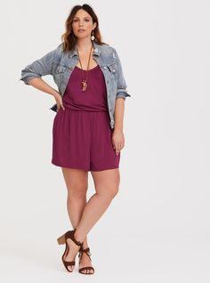 fcea6de69c6a Wine Jersey Romper - A romantic wine-hued jersey knit romper has a nipped-