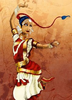 Bharat Natyam classical Indian dance illustration: