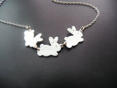 Silver Bunny Necklace in STERLING SILVER CHAIN by CeciliaJewelry, $25.00