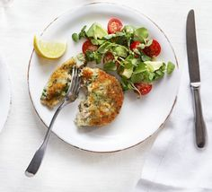 Salmon & broccoli cakes with watercress, avocado & tomato salad recipe - Recipes - BBC Good Food