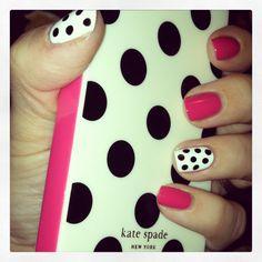 (Pink black & white) Kate Spade polka dot nails