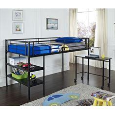 Walker Edison BTLD46SPBL Twin Low Loft Bed with Desk - Black