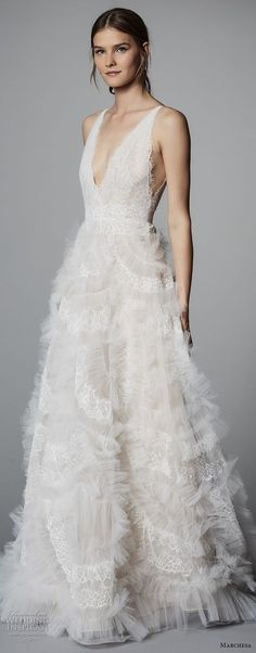 marchesa spring 2018 bridal sleeveless deep v neck full embellishment romantic a line wedding dress open v back chapel train (S1) mv zv -- Marchesa Bridal Spring 2018 Wedding Dresses