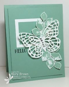 handmade greeting card by Mary Brown ... monochromatic mint ... layered die cut butterfly ... great looking montage ... Stampin' Up!