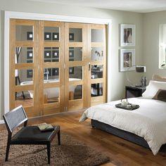 Shaker 4 Panel 4 Lite Oak Veneer Fully Glazed Internal Room Divider, (H)1981mm (W)1830mm | Departments | DIY at B&Q
