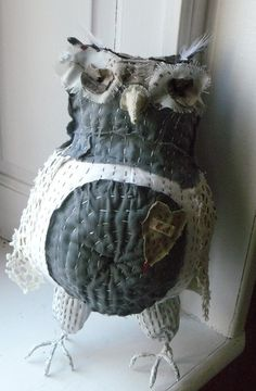 Primitive folk  art owl in Gray fabric- (awesome!)