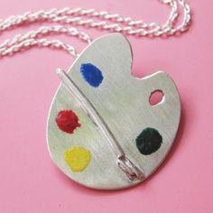 Artists Palette Necklace. $65.00, via Etsy.
