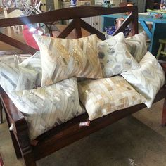 Metallic Cowhide Throw Pillows can be found in Houston Texas at Barrio Antiguo (73)8802105 New Shipment