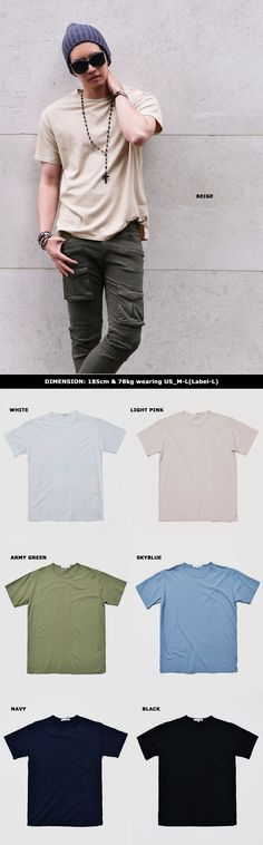 Pre-washed Easy Fit Cotton Round-Tee 723 #남자 #남자여름패션 #남자코디 by Guylook.com