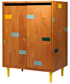 Gymnasium Cabinet, Soren Rose for Mater. Made from recycled gym floorboards.( furniture / living room / bedroom / handmade )