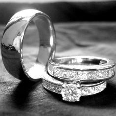 3 pieces mens & womens TITANIUM and STAINLESS STEEL engagement wedding rings set.