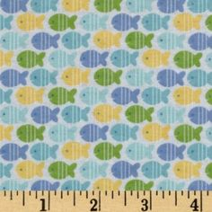 Amazon.com: 44'' Wide Alpine Baby Boy Bubbles Flannel Fishes Blue Fabric By The Yard: Arts, Crafts & Sewing