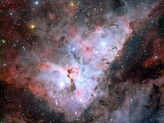 The Great Carina Nebula (aka NGC 3372), 7,500 light-years away and 300 light-years wide. It houses young and extremely massive stars.